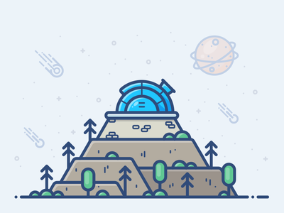 Observatory vector comet icon forest space illustration sun planet moon stars observatory