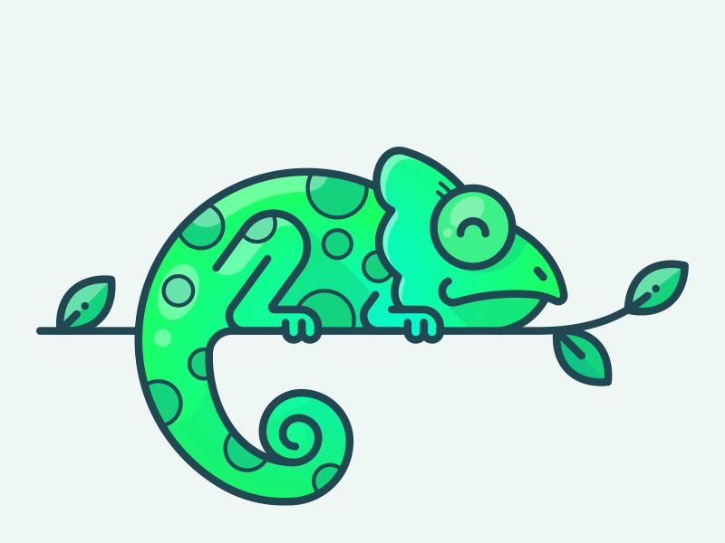 Chameleon character set gradient green outline sticker jungle leaves icon illustration animal chameleon