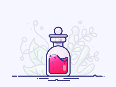 Berry Potion gradient chemistry set illustration icon vector drink water liquid bottle potion berry