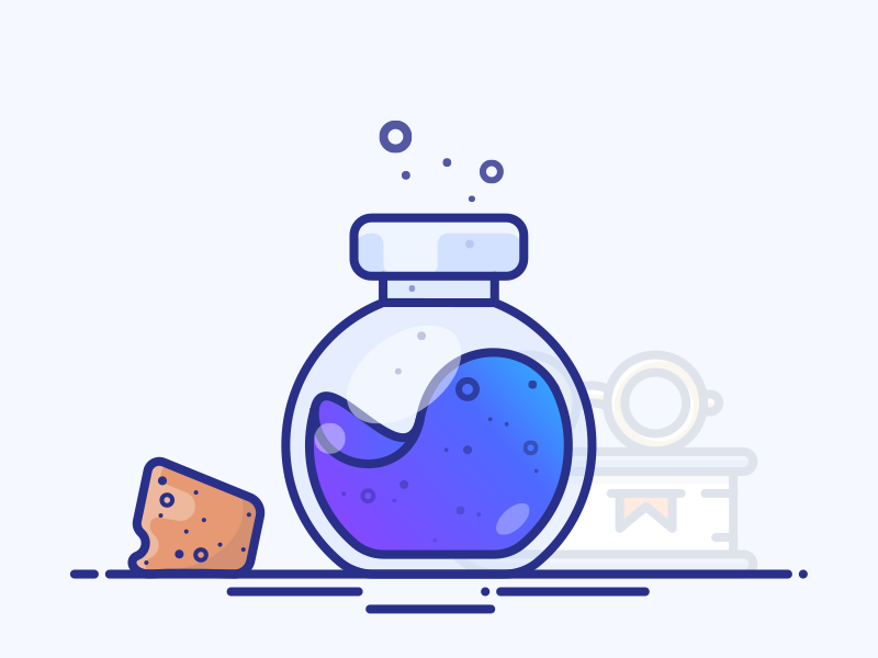 Potion of Concentration vector glasses book bottle illustration icon gradient purple blue power magic potion