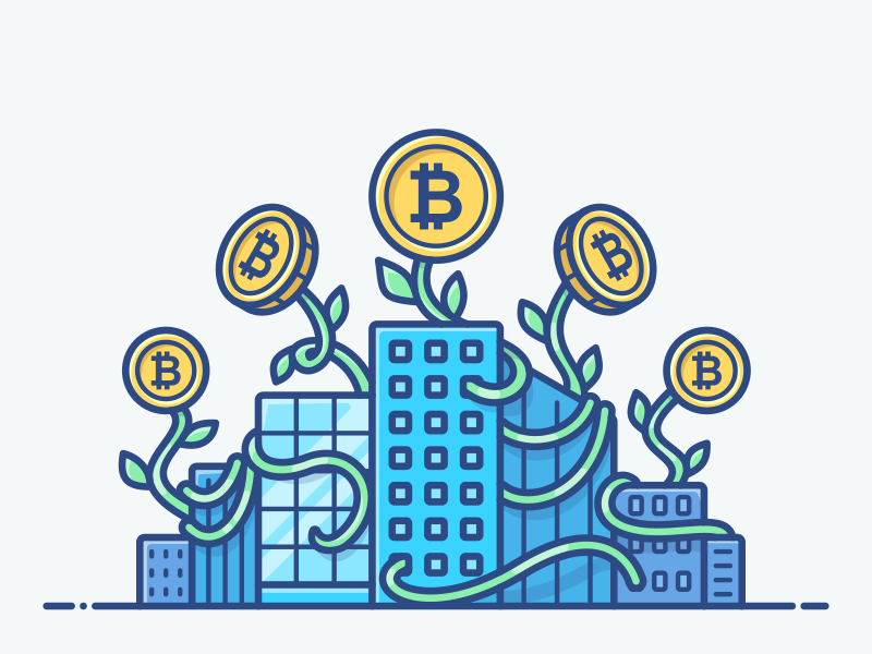 Cryptocurrency Growth vector city safe money illustration grow icon gold finance cryptocurrency blockchain bitcoin