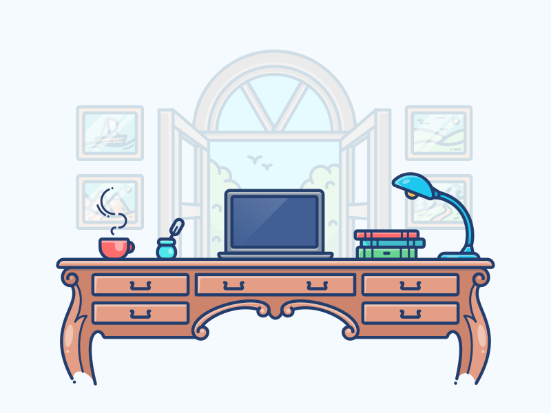 Cabin Workspace set picture country object illustration icon desktop desk lamp macbook work workspace