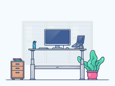 Standing Desk Workspace programmer web illustration icon notebook macbook work workspace desktop desk standing stand