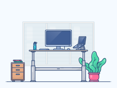 Standing Desk Workspace programmer web illustration icon notebook macbook work workspace desktop desk standing stand