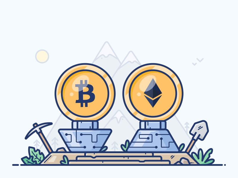 Cryptocurrency blockchain ethereum bitcoin coin mine icon illustration wallet money currency cryptocurrency