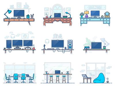 Workspace Illustrations computer vector mac macbook programmer icon outline illustration office desk work workspace