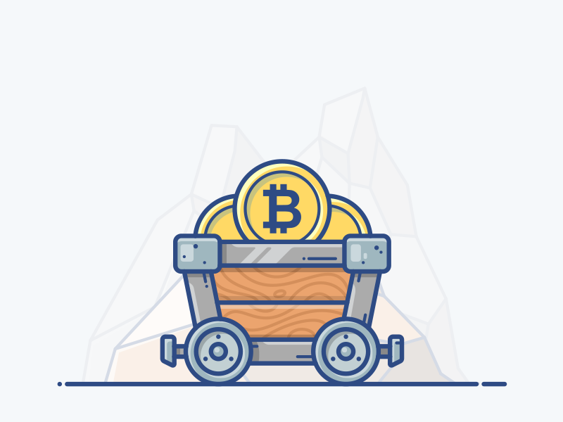 Minecart money set design vector icon illustration blockchain cryptocurrency bitcoin cart mine minecart