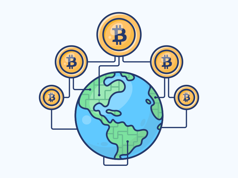 Cryptocurrency earth world bitcoin coin space icon planet illustration globe money currency cryptocurrency