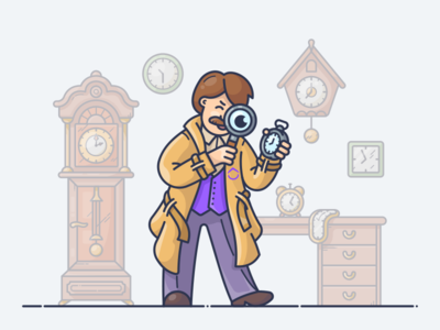 Find The Most Productive Time Of Day time vector icon blog illustration magnifier man spy detective watch clock