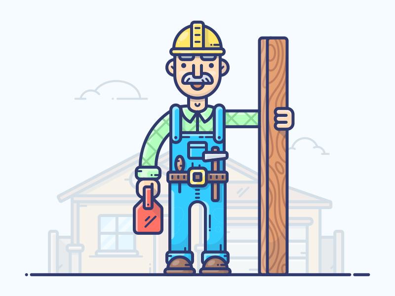 Carpenter building hammer man design hero vector icon illustration set character carpenter