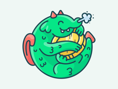 Baby Dragon illustration icon sticker lizard animal man guy character baby money coin dragon