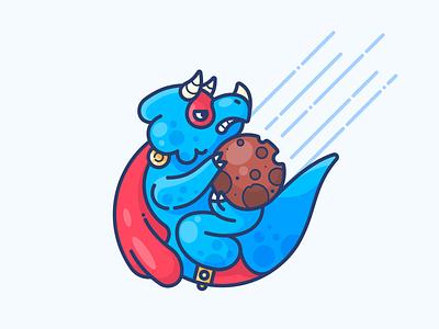 Superdino! hero vector design sticker illustration icon character dino dinosaur