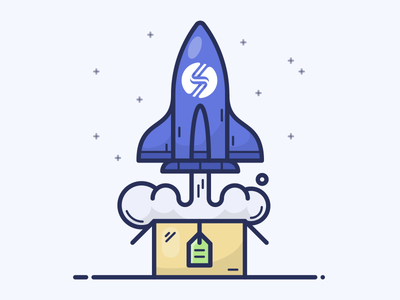 UPSELL spaceship vector app icon illustration upsell box space shuttle rocket