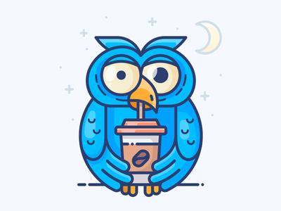 Night Owl web character bird blue illustration sticker icon vector night coffee owl