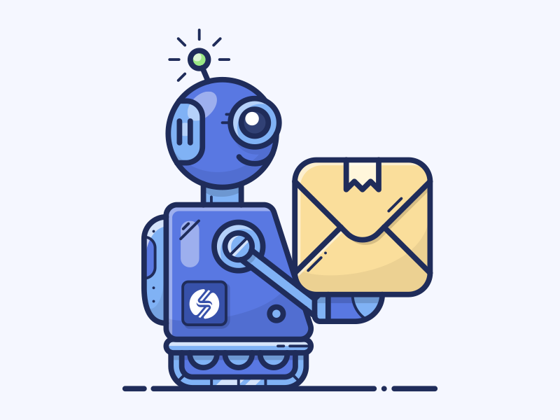 EXPRESS robot mech present sell box shopify icon illustration rocket smar7 delivery bot