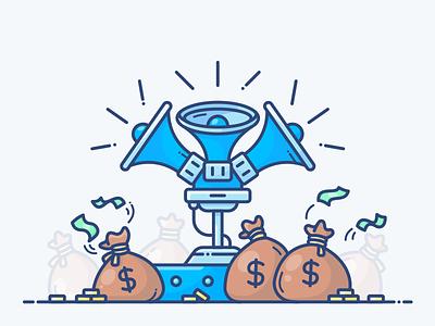 Referral Section sale promotion web onboarding design refferal money vector megaphone icon illustration