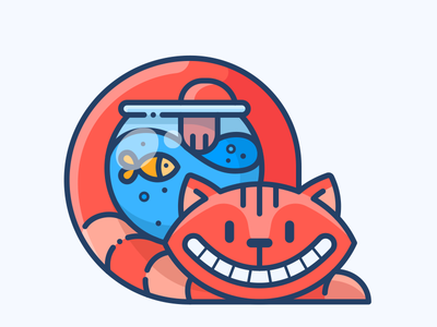 Cat & Fish character design illustrator outline cat illustration sticker icon vector logo friends fish cat