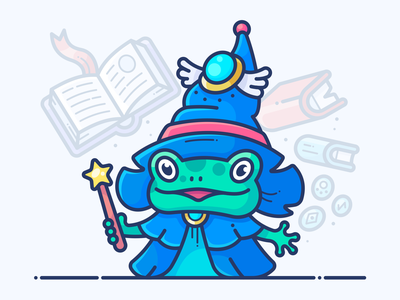 Toad Sorceress girl blog onboarding web magic book character graphics vector illustration icon frog toad