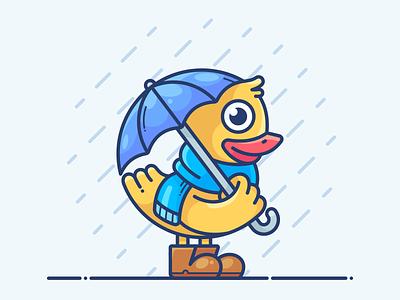 Duckling flat onboarding bird umbrella blog web rain icon illustration vector character duck