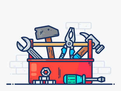 Toolbox workspace work outline page service house carpenter plumber screwdriver tool box tool object web design icon vector illustration sledgehammer hammer toolbox