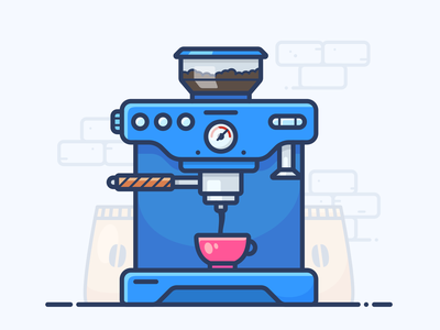 Coffee Machine coffeeshop desktop object dribbble cup of tea motivation morning office set mug outline image illustrator web vector icon illustration cup machine coffee