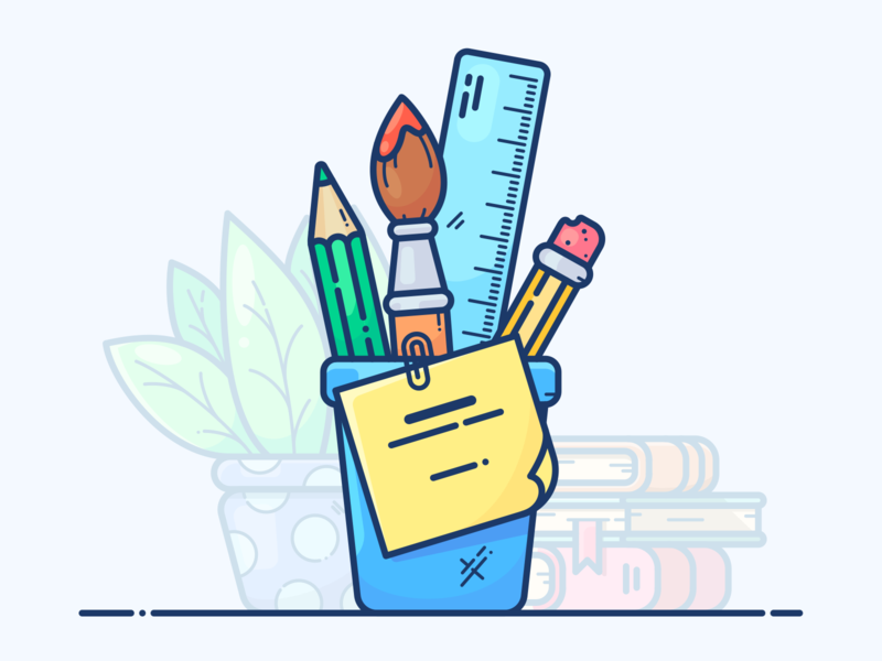 Drawing Tools design web note bookshop bookstore office bookshelf illustrator workspace icon artwork desk vector illustration icon pencil tools drawing ink drawing plant books