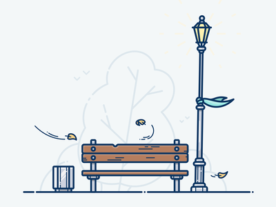 Autumn Mood design outline illustrator bird picture wood onboarding park forest tree icon illustration vector mood bench light fall autumn