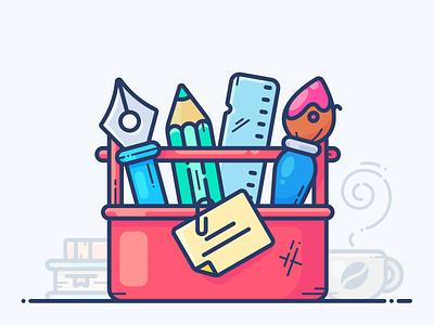 Design Toolbox illustrator note inspiration works workspace books web coffee brush pencil case pencil tool illustration icon vector artists artist designer design toolbox