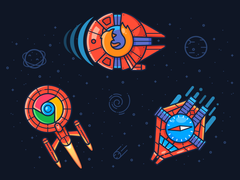 Play On Any Device ufo rocket planet sun star spaceship space vector design illustration icon safari chrome google firefox web internet browser device