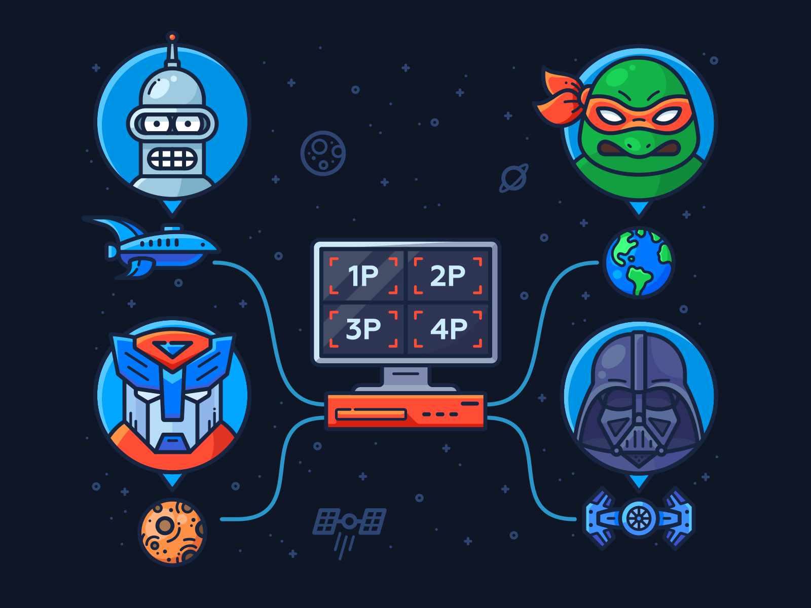 Play With Your Friends multiplayer coop earth teenage movie character icon illustration sticker game pc space planet wars star darth vader darthvader transformer bender comic