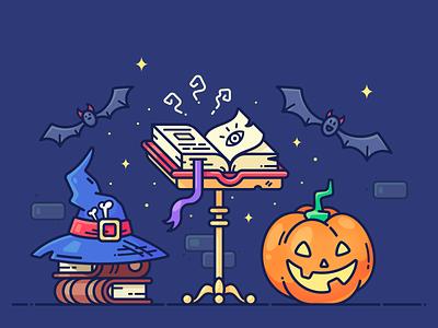 Halloween 🎃 pumpkin lantern graphics web month 2018 collection pack set wizard magic hat bat book halloween design vector illustration icon