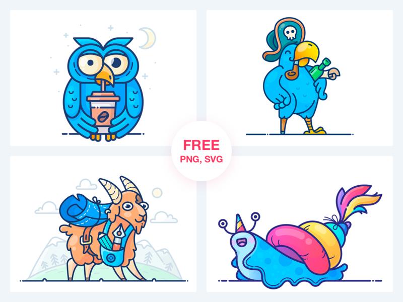 Stickers Freebie illustrator design web graphics parrot pirate coffee owl snail outlane vector outline stickers sticker pack set freebie free icon illustration