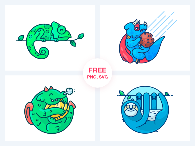 Stickers Freebie Vol. 2 freebies set web animal dinosaur coin money dragon chameleon sloth freebie free sticker design outline character illustrator vector icon illustration
