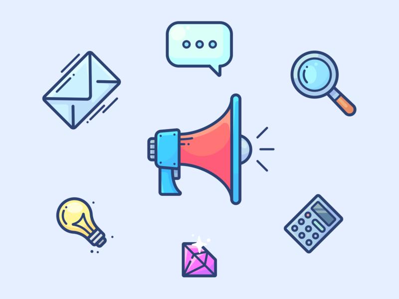 Shopify Marketing Apps digital calculator diamond chat mail lightbulb web work illustrator vector design icon illustration megaphone app post blog marketing shopify