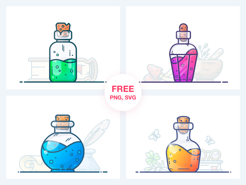 Potions Freebie Vol. 1 svg freebie free pack health mana magic game potion flask bottle work design outline illustrator vector icon illustration sticker