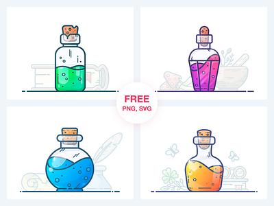 Potions Freebie Vol. 1 svg freebie free pack health mana magic game potion flask bottle work design outline illustrator vector icon illustration sticker