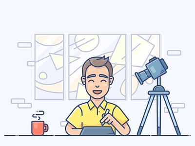 My process animation illustrator instagram inspiration speedart speedpaint digital nomad web process work coffee procreate ipad adobe vector character artist illustration design