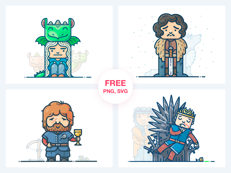 Game of Thrones Freebie Vol. 1 sticker man outline illustrator work web series download svg set icon illustration vector design graphic snow freebie free character game of thrones