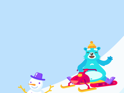 Polar Bear after effects cartoon funny fun mountain winter graphics sticker web character snowman broadcast stream gift illustration design motion animation bear polar
