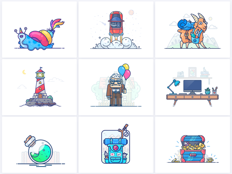 Best 9 Shots of 2018 outline graphics web adobe potion backpack treasure chest set bundle lighthouse illustrator icon top illustration vector shot year best 9 best