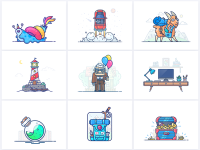 Best 9 Shots of 2018 outline graphics web adobe potion backpack treasure chest set bundle lighthouse illustrator icon top illustration vector shot year best 9 best