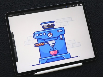 Coffee Maker Speedpaint tutorial video speedpaint speedart artwork drawing procreate machine maker sticker coffee workspace work web design outline illustrator vector icon illustration