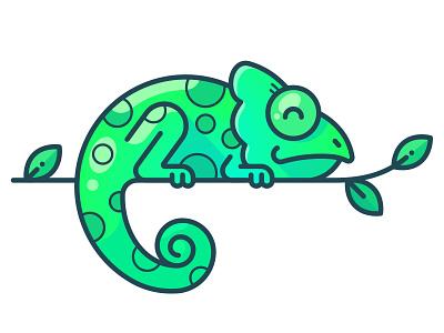 Chameleon Speedpaint outline character drawing draw ipad web design illustrator vector speedart speedpaint procreate illustration minimal icon sticker forest jungle chameleon animal