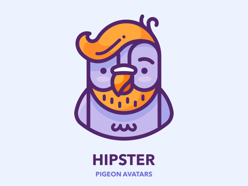 Hipster Pigeon man character bird sticker design illustrator outline metro subway vector set series icon illustration picture profile avatar google pigeon hipster