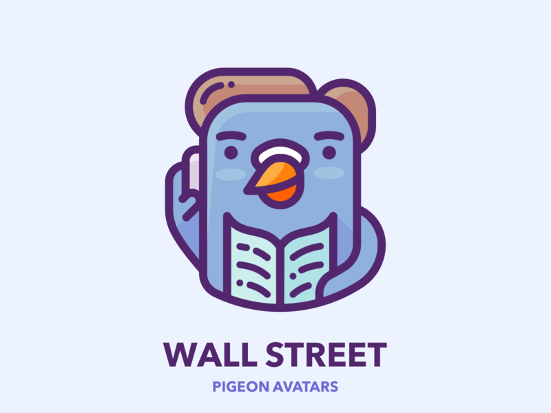Wall Street Pigeon marketing google businessman business man sticker web bird pigeon picture profile avatar work design outline character illustrator vector icon illustration