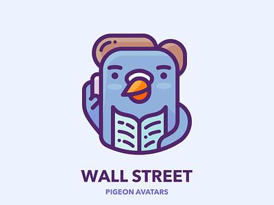 Wall Street Pigeon marketing google businessman business man sticker web bird pigeon picture profile avatar work design outline character illustrator vector icon illustration