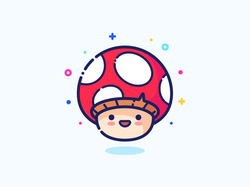 Mushroom set series web illustrator icon illustration minimal outline small little cute man vector pin sticker design character guy boy mushroom