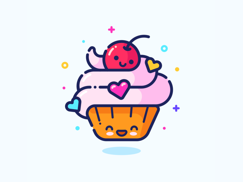 Cupcake cute color minimal heart profile series avatar food cupcake pin sticker set web design outline character illustrator vector icon illustration