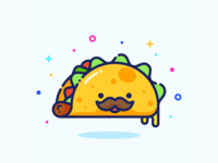 Taco color minimal cute cheese food mexico taco sticker pin series set design outline character illustrator vector icon illustration