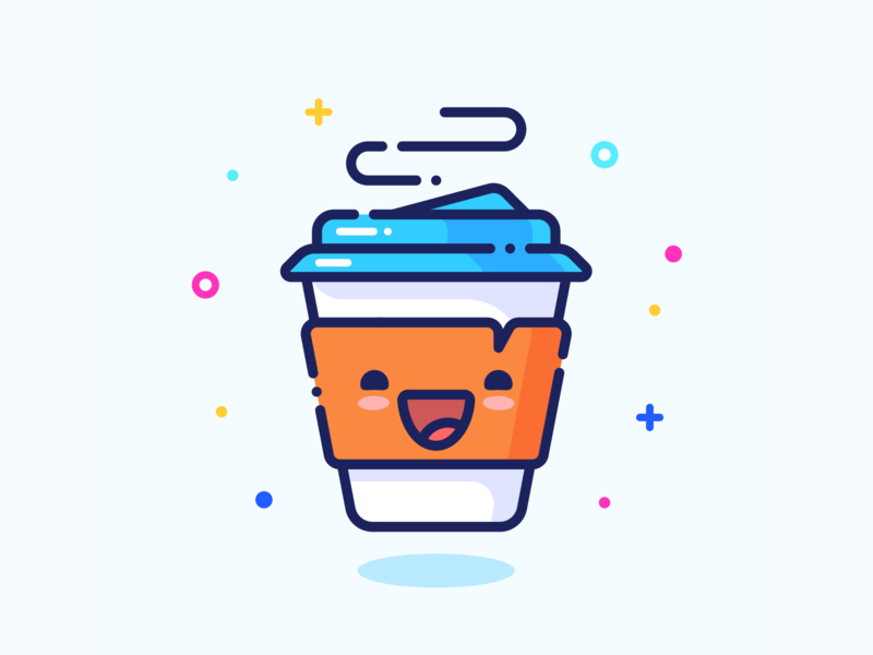 Coffee outline graphics vector adobe smile face character minimal cute morning set series web design illustrator sticker icon pin illustration coffee